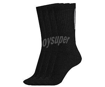 In Extenso Pack de 4 pares de calcetines deportivos de rizo bordados color negro, talla única