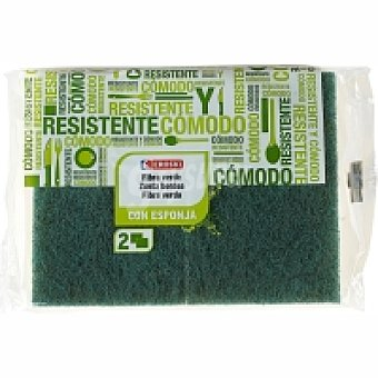 Eroski Estropajo de fibra verde con esponja Pack 2 unid