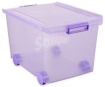 Tatay Caja multiusos con ruedas y tapa, 60 litros, color morado translúcido 1 unidad
