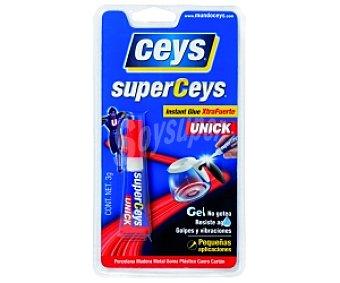 Ceys Adhesivo Instantáneo Transparente Extra-Fuerte, de última Generación. 3 Gramos. Superceys Unick de 1 Unidad