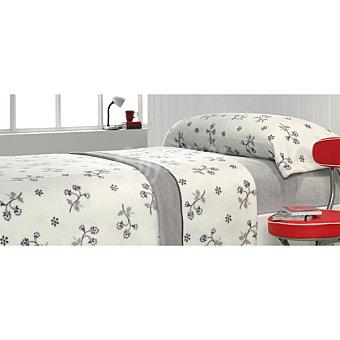 Casactual Juego de cama coralina con flores en tonos grises para cama 105 cm