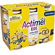 Yogur líquido L.Casei sabor plátano kids Pack 6 unidades x 100 g Actimel Danone