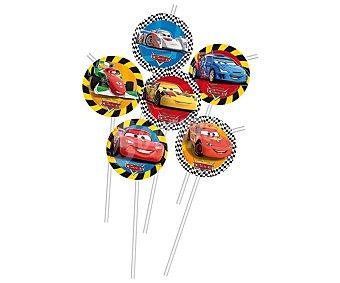 Disney Pajitas flexibles de plástico con decoración Cars Pack de 6 unidades