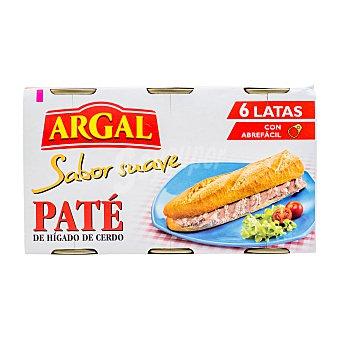 Argal Paté hígado cerdo textura fina Pack 6 u - 498 g