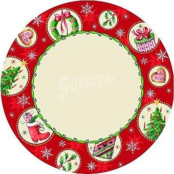 Papstar Plato cartón Christmas All Over 23 cm Paquete 10 unidades