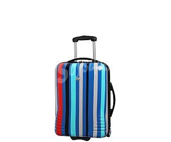 Itluggage Maleta pequeña de material rigido con diseño de rayas multicolores, 2 ruedas, itluggage