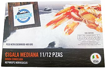 Rockabill Seafood Ltd Cigala congelada cruda mediana (11/12 piezas) Caja 400 g peso neto escurrido