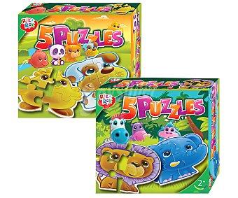 Rik&Rok Auchan Conjunto de Cinco Puzzles de Cuatro Piezas 1 Unidad