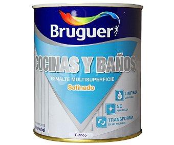 BRUGUER Esmalte acrílico para cocinas y baños de color blanco y acabado satinado 750 mililitros