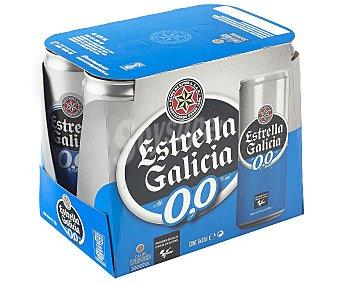 Estrella Galicia Cerveza sin alcohol (0,0% Vol.) Pack de 6 latas de 33 cl