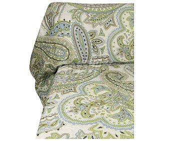 Auchan Colcha boutí 100% algodón con estampado color verde para cama individual, 80g/m² AUCHAN. 80g
