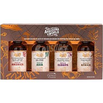 Castillo de canena ARBEQUINA & WORLD aceites infusionados con especias del mundo 4x100 ml estuche 400 ml estuche 400 ml