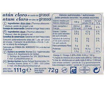 Auchan Atún claro en aceite de girasol 72 gramos