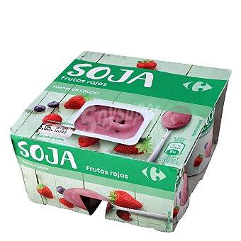 Carrefour Yogur Soja Frutos rojos Pack de 4x125 g