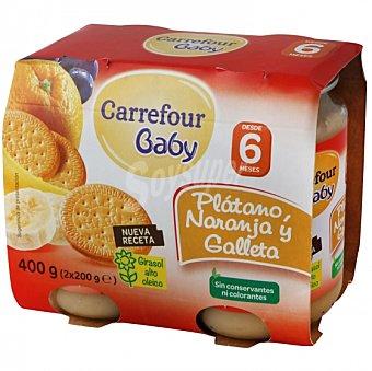 Carrefour Baby Tarrito de plátano, naranja y galleta desde 6 meses Pack de 2 unidades de 200 g