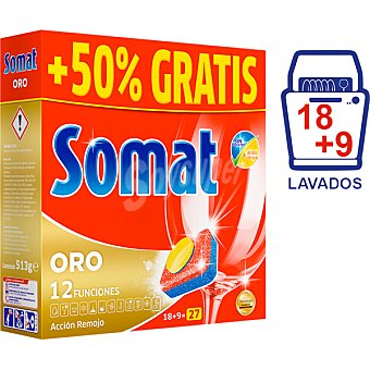 Somat Detergente lavavajillas Multi Perfect 10 Oro caja 18 pastillas 10 caja 18 pastillas