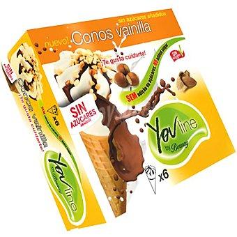 YOU LINE BORNAY Conos con helado de vainilla sin azúcares añadidos estuche 720 ml 6 unidades