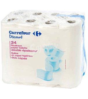 Carrefour Discount Papel higiénico dos capas Paquete de 24 rollos