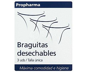 PROPHARMA Braguitas desechables, cómodas y suaves ,talla única 3 Unidades