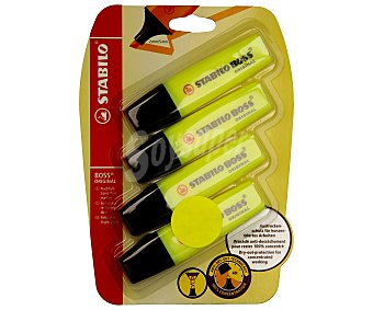 STABILO BOSS Lote de 4 marcadores fluorescentes con punta biselada con grosor de trazo de 2 a 5 milímetros y tinta amarilla con tecnología antisecado 1 unidad