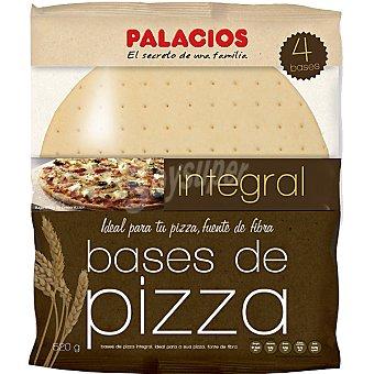 Palacios Bases de pizza integral bolsa 520 g 4 unidades