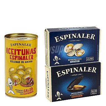 Espinaler Pack de berberechos, mejillones y aceitunas 580 G 580 g
