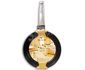 SANTA CLARA Sartén modelo Sora de 24 centímetros con cuerpo de aluminio, mango de baquelita y recubrimiento interior antiadherente doble capa. Apta para todo tipo de cocinas 1 Unidad