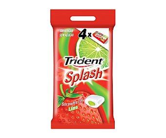 TRIDENT Splash Chicles de fresa y lima 4 unidades 52,8 gramos