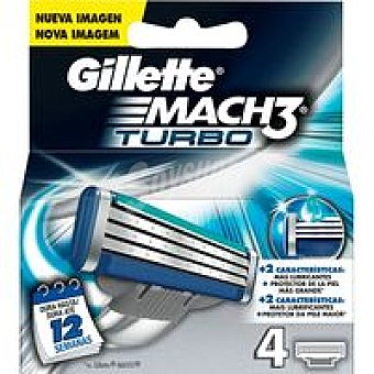 GILLETTE Mach 3 Turbo Cargador de afeitar Pack 4 unid