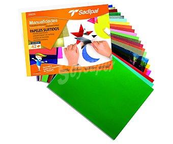 Sadipal Bloc de manualidades con 42 hojas de 24x32 centímetros de diferentes tipos de papel (charol, celofán, seda, cartulina...) sadipal 1u
