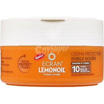 Ecran Lemonoil broncea y protege crema protectora doble acción de zanahoria + vitamina C FP-10 resistente al agua tarro 200 ml