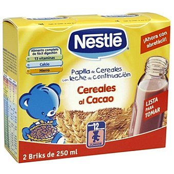 Nestlé Papilla líquida cereales al cacao Pack 2 brik 250 ml
