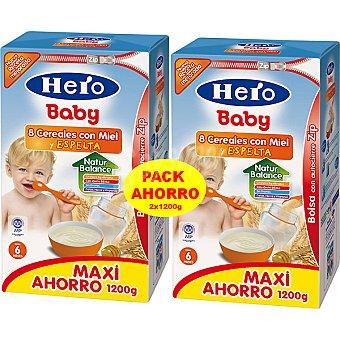 Hero Baby papilla 8 cereales con miel y espelta paquete 2400 g pack ahorro 2x1200g