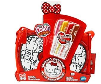 Cife Bolsos personalizables Hello Kitty edición 40 aniversario, incluye rotuladores Color me mine 1 unidad