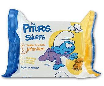 BREVIA Los Pitufos Toallitas húmedas infantiles extra suaves y absorbentes (tejido al natural) 24 unidades