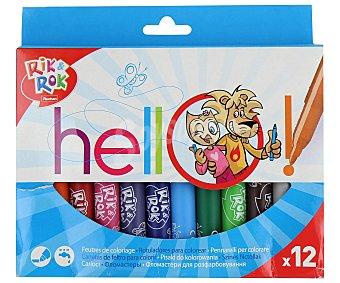 Rik&Rok Auchan Caja de 12 rotuladores con cuerpo de tamaño maxi, punta gruesa, tapa ventilada de seguridad, lavables y de diferentes colores 1 unidad