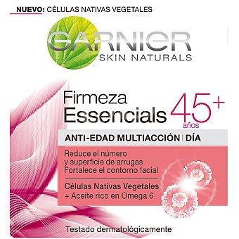 GARNIER SKIN ACTIVE Essencials crema de dia anti-edad multiaccion +45 años reduce el numero y superficie de arrugas y fortalece el contorno facial tarro 50 ml