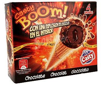 Casty Cono de chocolate recubierto de chocolate almendrado 4 unidades de 125 mililitros
