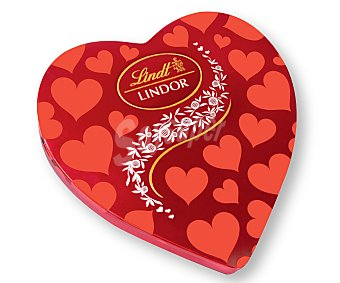 LINDOR Bombones de chocolate con leche con relleno cremoso en lata con forma de corazón 350 g
