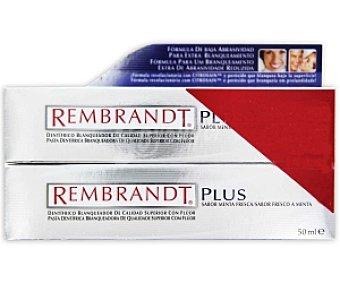REMBRANDT Plus Dentífrico blanqueador de calidad superior con flúor , sabor a menta 50 + 50 Mililitros