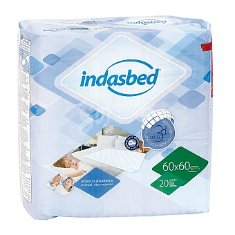 IndasBed Protector de cama absorbente 60x60 cm Paquete 20 u
