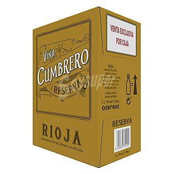 Viña Cumbrero Vino tinto reserva doca Rioja Caja 6 botellas 75 cl