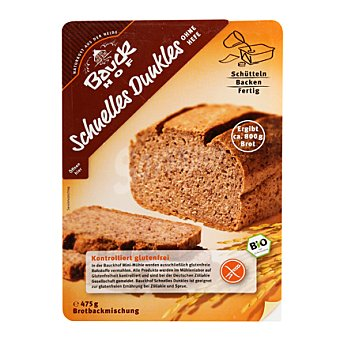 Bauck Hof Preparado de pan de arroz negro horneado sin gluten y sin lactosa 475 g