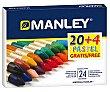 Pack de 20 ceras + 4 color pastel, manley.  Manley