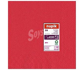 Nupik Servilletas de 33x33 centímetros, 2 capas punta-punta, color rojo 50 Unidades
