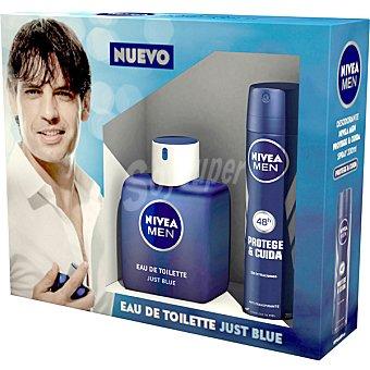 Nivea For Men Just Blue eau de toilette masculina + desodorante Protege & Cuida  estuche 1 unidad