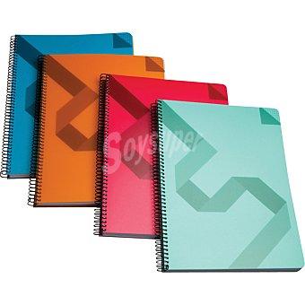 Hipercor cuaderno de cuadricula con espiral de tapa de polipropileno A4 en colores surtidos 74026 1 unidad