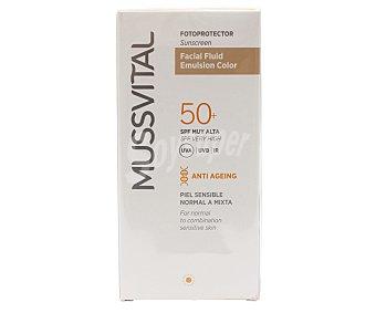 Mussvital Fluido facial con emulsión de color y factor de protección solar 50 (muy alto) 50 ml