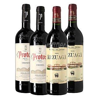 Arzuaga Lote 61: 2 botellas D.O. Ribera del Duero tinto crianza 75 cl. + 2 botellas D.O. Ribera del Duero Protos tinto crianza 75 cl Pack 4 x 75 cl