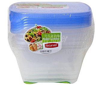 Curver Pack de recipientes herméticos cuadrados de plástico, capacidad de 1 litro, modelo sandwich take away 1 Unidad